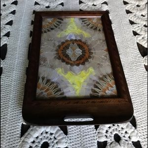 Vintage Butterfly Wing Wood Decorative Tray